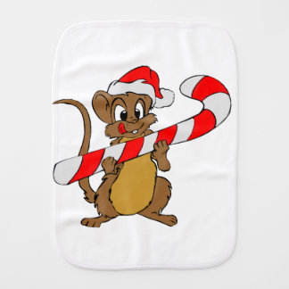 Mouse with a Christmas candy cane Burp Cloth