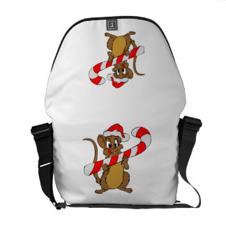 Mouse with a Christmas candy cane Courier Bag