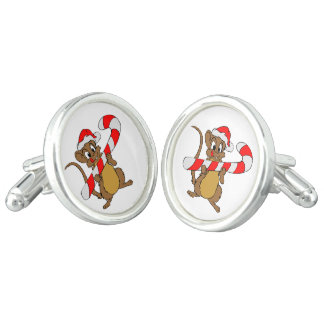 Mouse with a Christmas candy cane Cufflinks