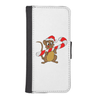 Mouse with a Christmas candy cane iPhone SE/5/5s Wallet Case