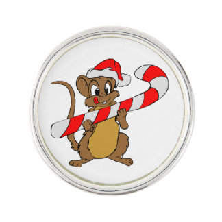 Mouse with a Christmas candy cane Lapel Pin