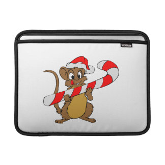 Mouse with a Christmas candy cane MacBook Sleeve