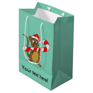 Mouse with a Christmas candy cane Medium Gift Bag