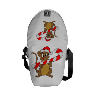 Mouse with a Christmas candy cane Messenger Bags