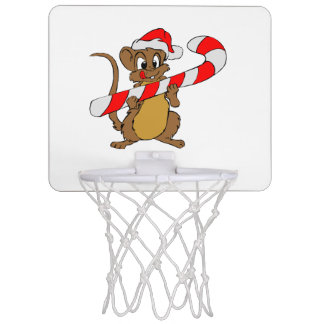 Mouse with a Christmas candy cane Mini Basketball Hoop