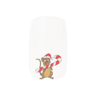Mouse with a Christmas candy cane Minx Nail Art