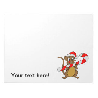 Mouse with a Christmas candy cane Notepad
