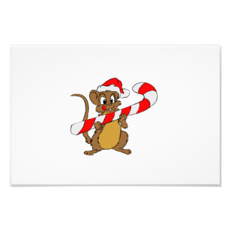Mouse with a Christmas candy cane Photo Print