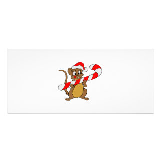 Mouse with a Christmas candy cane Rack Card