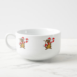 Mouse with a Christmas candy cane Soup Mug
