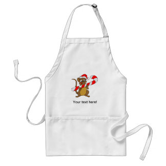 Mouse with a Christmas candy cane Standard Apron
