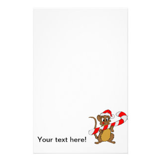 Mouse with a Christmas candy cane Stationery