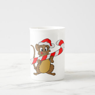 Mouse with a Christmas candy cane Tea Cup