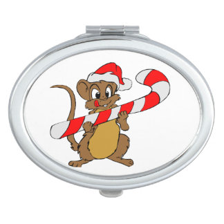 Mouse with a Christmas candy cane Travel Mirror
