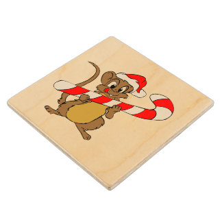 Mouse with a Christmas candy cane Wood Coaster