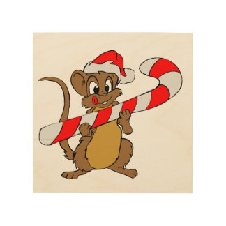 Mouse with a Christmas candy cane Wood Print