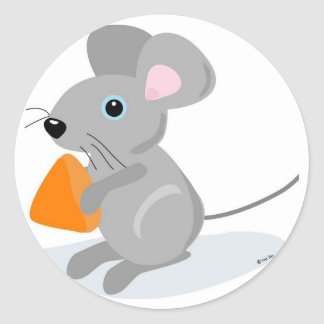 MOUSE WITH CHEESE CLASSIC ROUND STICKER