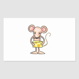 MOUSE WITH CHEESE RECTANGLE STICKER