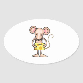 MOUSE WITH CHEESE OVAL STICKERS
