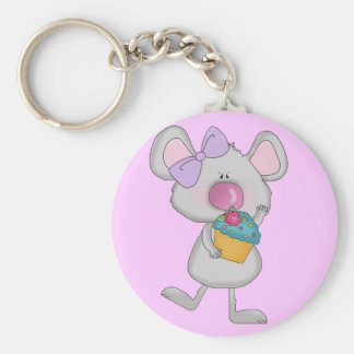 Mouse with Cupcake Tshirts and Gifts Basic Round Button Key Ring