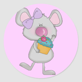Mouse with Cupcake Tshirts and Gifts Classic Round Sticker