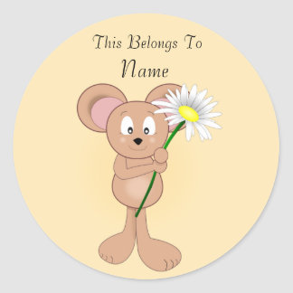 Mouse with Flower Classic Round Sticker