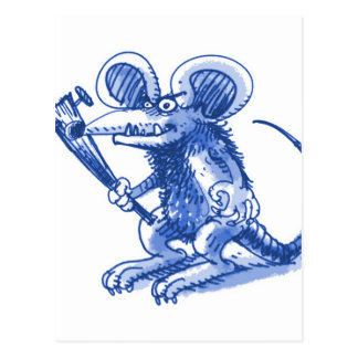 mouse with hard plank blue postcard