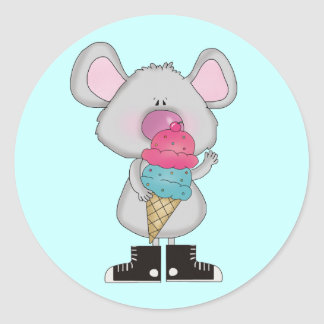 Mouse with Ice Cream Tshirts and Gifts Classic Round Sticker