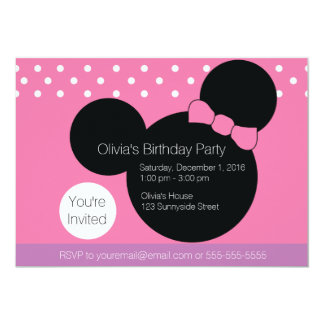 Mouse with Pink Bow - Party Invitation
