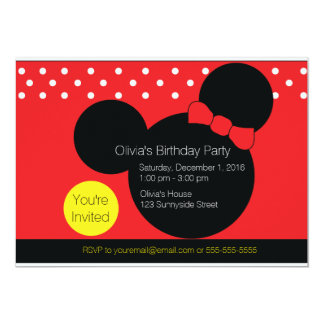 Mouse with Red Bow - Party Invitation