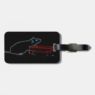 mouse with wagon dark outlines cute animal luggage tag