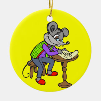 Mouse Writing Letter Round Ceramic Decoration