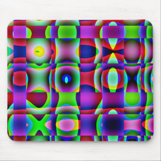 Mousemat Abstract Trippy Squares, Psychedelic Mouse Pads