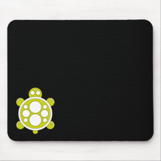 Mousemat, round turtle, yellow white black mouse pad