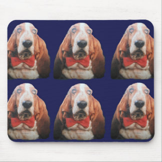 Mousemat With Basset Hounds Red Bow Tie Mousepad