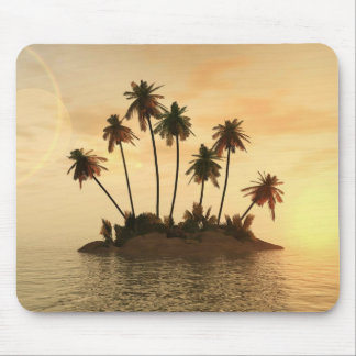 Mousepad island in the ocean with palm trees