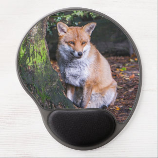 Mousepad of red fox sat by a tree mousemat