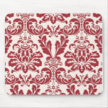 Mousepad...red and white damask mouse pad
