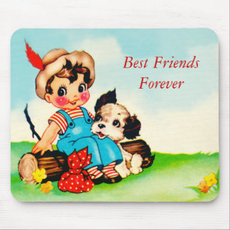 Mousepad Vintage Little Boy & Dog Best Friends BFF Mouse Pads
