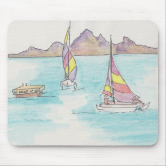 "Mousepad Watercolor Sketch ""Fiji Water Boats"""
