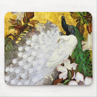 Mousepad: White and Blue Peacocks Mouse Pad