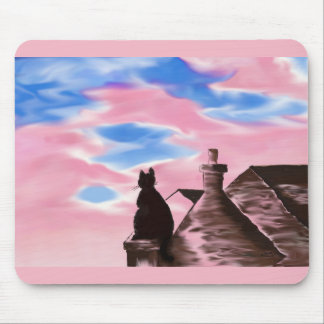 Mousepad with Cat on roofs painting print