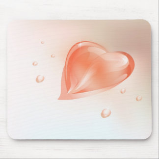 Mousepad with drop  heart shaped design.