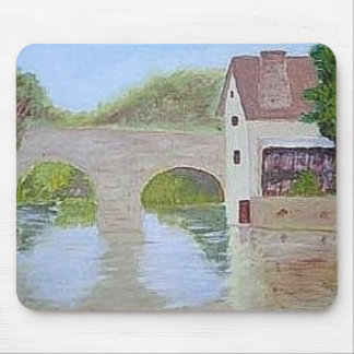 Mousepad with painting of bridge over water