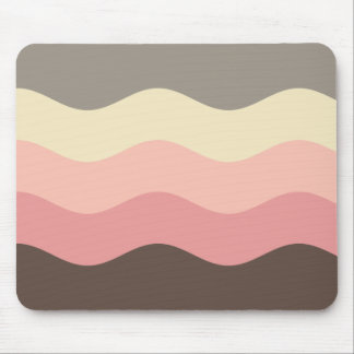 Mousepad With Pink & Brown Pastel Wave Design