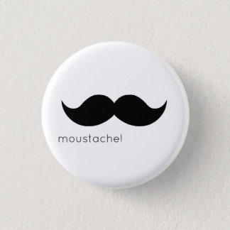 moustache 3 cm round badge