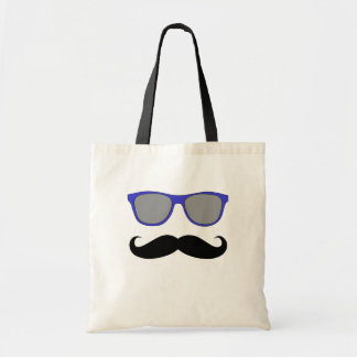 Moustache and Blue Sunglasses Humour Budget Tote Bag