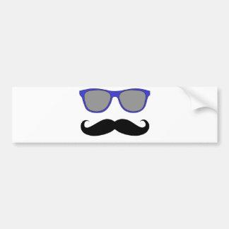 Moustache and Blue Sunglasses Humour Bumper Sticker