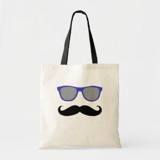 Moustache and Blue Sunglasses Humour Canvas Bag