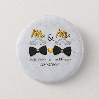 Moustache and bow for Mr and Mr 6 Cm Round Badge